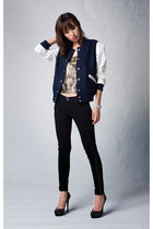 black skinny winter 7 for all mankind jeans - navy Mood & Closet jacket