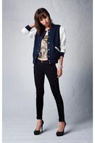 navy Mood & Closet jacket - black skinny winter 7 for all mankind jeans