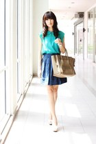 green Mood & Closet top - camel Celine bag - blue Zara skirt - white Aldo heels