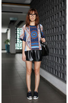black christian dior bag - black Mood & Closet shorts - navy Miu Miu sneakers