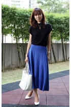 white Fendi bag - white spring Zara heels - blue asos skirt