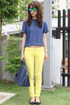 yellow summer skinny abercrombie & fitch jeans - navy Louis Vuitton bag