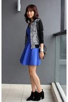 blue Club Monaco dress - black Zara boots - gray Club Monaco jacket
