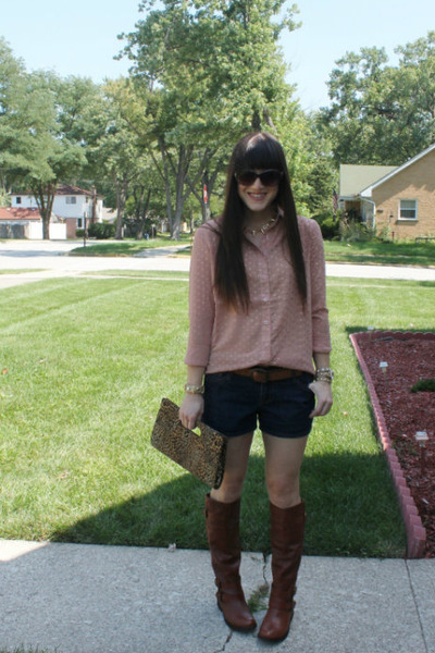 Dolce Vita boots - Express purse - Old Navy shorts - Tinley Road blouse