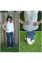 white Loft blouse - blue 7 for all mankind jeans - neutral just fab wedges