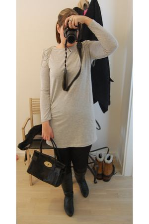 gray H&M dress - black H&M tights - black Cashott shoes - black Mulberry accesso