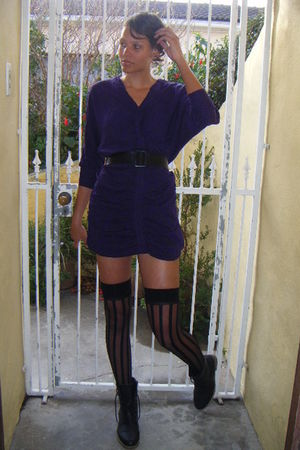 purple 2nd hand store dress - black Mr Price boots - black stay-ups from adult w