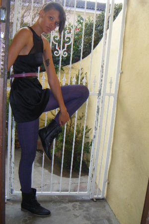 black MrPrice boots - purple Marks and Spencers stockings - black Vintage from c