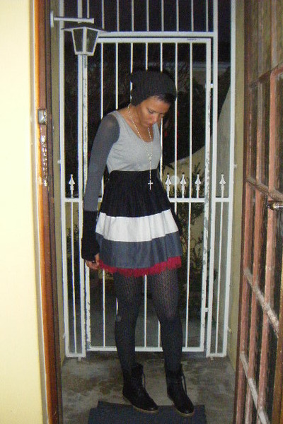 black Mr Price boots - black Marks and Spencers stockings - gray Mr Price dress