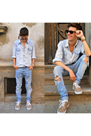 light blue denim shirt - blue ripped Zara jeans