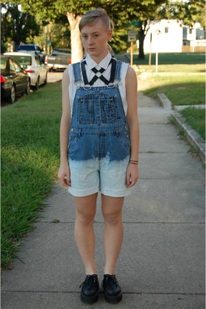 black collar harness DIY necklace - blue Thrifted  DIY romper