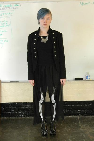 black stockings - black jacket - black skirt - black heels