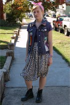 blue DIY vest - green doc martens boots - light yellow thrifted skirt