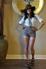 Brown-bebe-hat-white-bdg-shirt-beige-silence-noise-shorts-black-aldo-shoe
