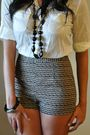 Brown-bebe-hat-white-bdg-shirt-beige-silence-noise-shorts-black-aldo-shoe
