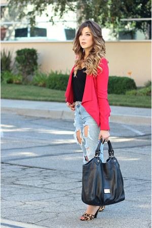 red bcbg max azria blazer - light blue Zara jeans