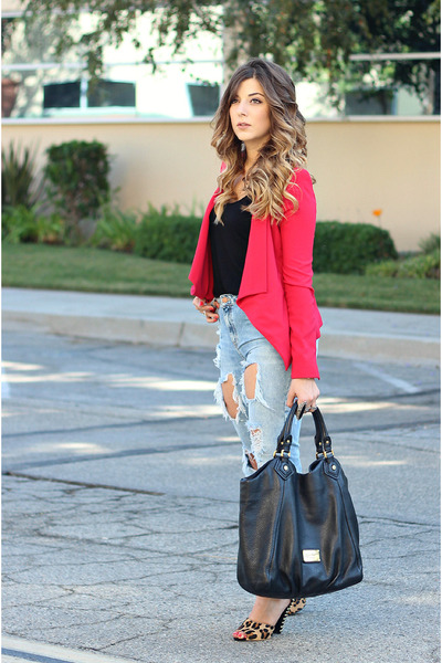 red bcbg max azria blazer - light blue Zara jeans