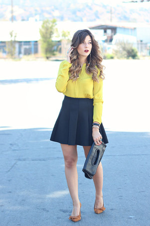 mustard Zara top - black Topshop skirt