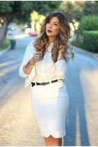 white BCBG skirt - white Topshop top - gold Steve Madden sandals