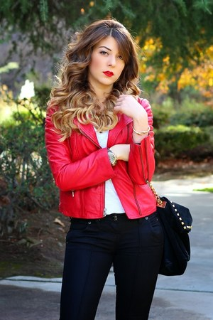 red Zara jacket - black Guess jeans - black Zara bag