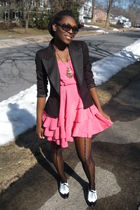 pink H&M dress - black Zara blazer - black centry21 tights - white Steve Madden