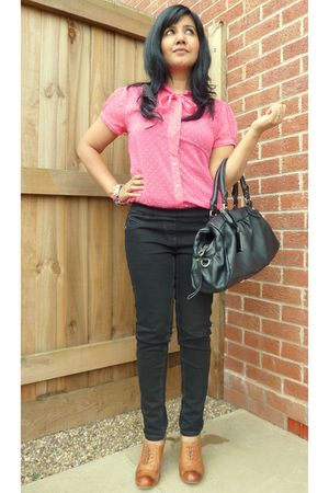 pink H&amp;M blouse - black next - brown Office shoes - black Marc by Marc Jacobs pu