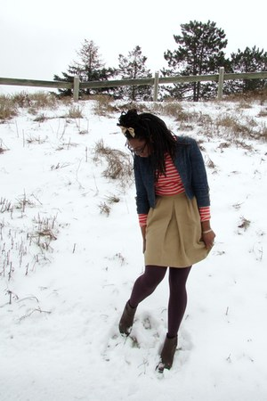 thrifted skirt - H&M boots - Jcrew shirt