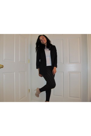 black H&M blazer - white Forever 21 shirt - charcoal gray Forever 21 tights - be