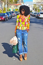 green YSL bag - blue boyfriend jeans - hot pink colorblock shirt