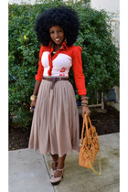 red puff sleeve shirt - camel Pleated skirt