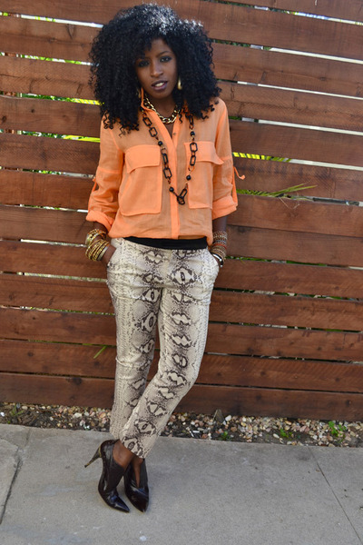 carrot orange Safari shirt - beige snakeskin pants
