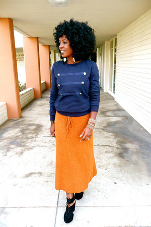 navy military sweater - carrot orange Sweater skirt