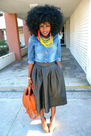 blue denim shirt - tawny Rachel Zoe bag - black H&M skirt