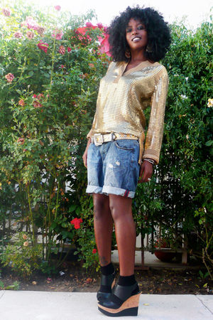 gold Michael Kors top - black Steve Madden shoes - blue boyfriend H&M shorts