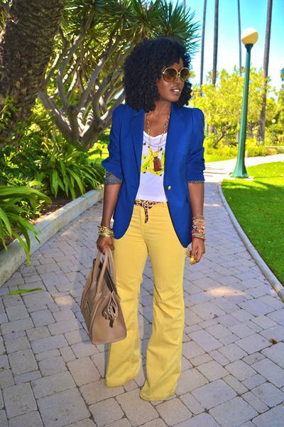 navy boyfriend blazer - yellow Level 99 jeans - camel Celine bag