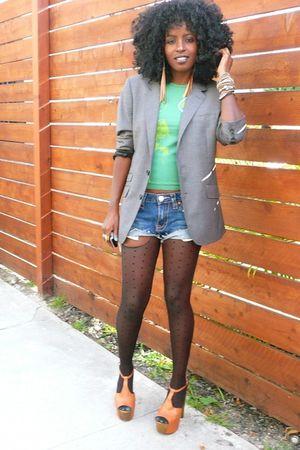 blue diy True Religion shorts - gray mens blazer H&M blazer