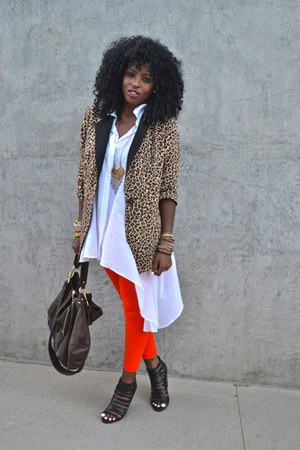 white leopard blazer - brown American Apparel leggings - red Asymmetrical shirt