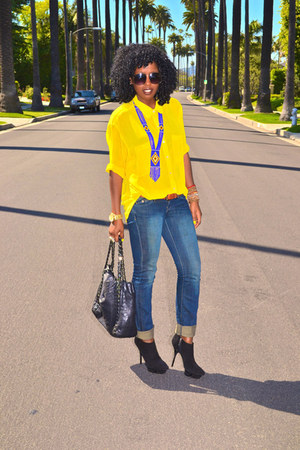 yellow American Apparel shirt - blue 7 for all manking jeans