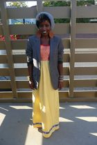 yellow WeWe Clothing dress - gray H&M blazer - gray Topman hat - white Converse