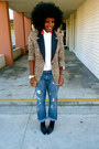 Light-brown-rachel-zoe-blazer-white-gap-shirt-navy-h-m-jeans