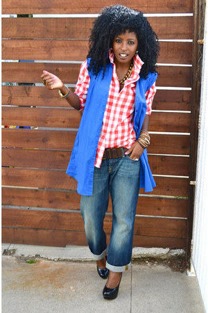 blue boyfriend jeans - red Gingham shirt - blue Dress vest