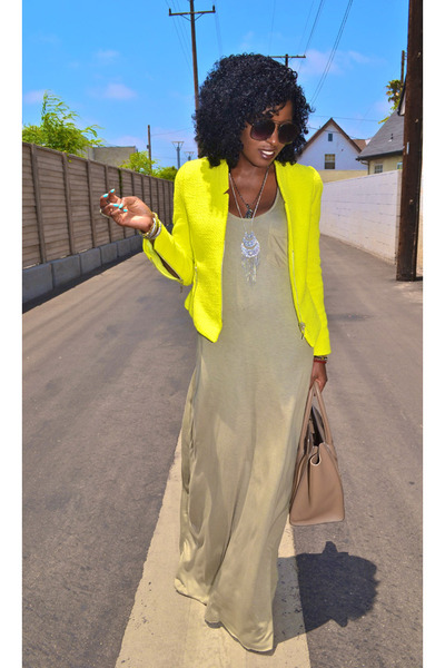 yellow Zara blazer - tan tank dress - camel Celine bag