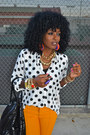 White-polka-dot-shirt-black-shirt-light-orange-zara-pants