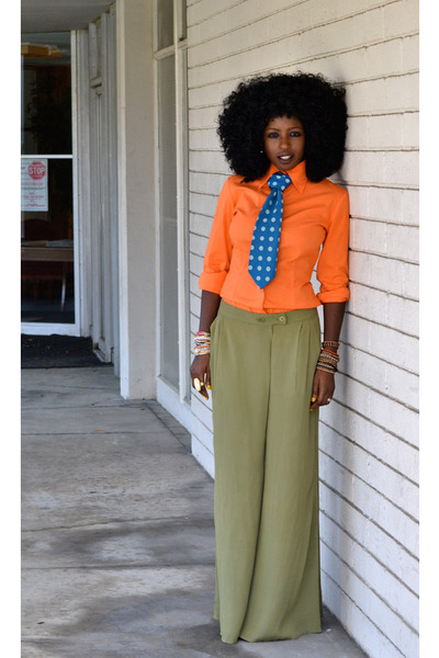 carrot orange Moda shirt - olive green Palazzo pants