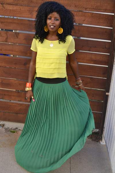 yellow Pleated Sheer blouse - chartreuse Pleated Sheer skirt