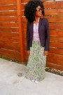 Navy-jcrew-blazer-chartreuse-vintage-dress-white-converse-shoes