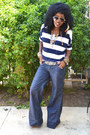 Blue-super-wide-jeans-white-nautical-stripes-blouse-brown-plaftorm-pumps