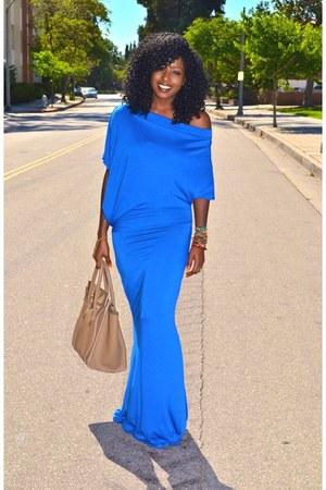 blue Mermaid Jersey dress - camel Celine bag