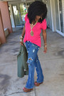 Olive-green-elizabeth-james-blazer-blue-diy-ripped-levis-jeans