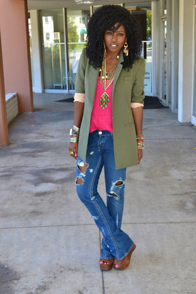olive green Elizabeth & James blazer - blue diy ripped Levis jeans